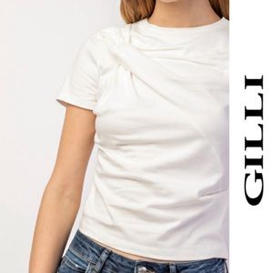 Gilli Front Drape Short Sleeve Top